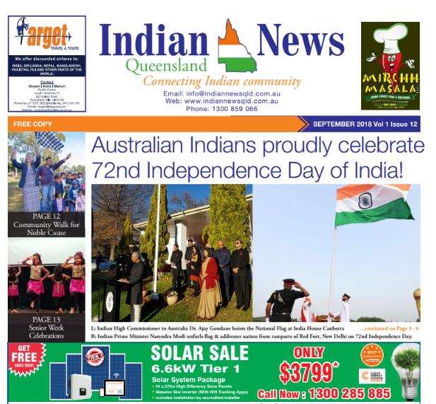 Indian News Queensland – September 2018 Vol 1 Issue 12