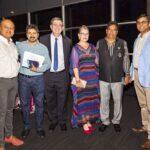 (From left) Paviter Kumar Noori, Ashok Manian, Senator Paul Scarr, Karla Oberoi, Pushpinder Oberoi, Mahadevan Shankar