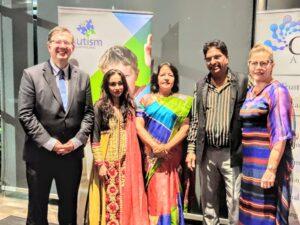 (From left) Senator Paul Scarr, Sudha Manian, Hon Consul Archana Singh, Pushpinder Oberoi, Karla oberoi
