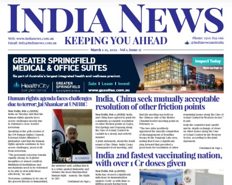 India News – March 1-15, 2021, Vol 1 Issue 17