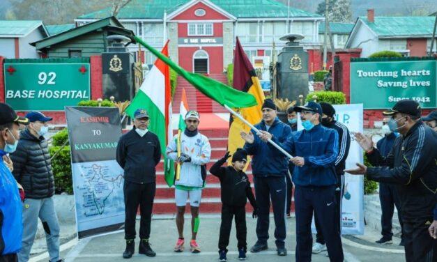 Army soldier starts Kashmir to Kanyakumari ultra marathon
