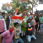 TMC activists celebrate during Election results in Kolkata