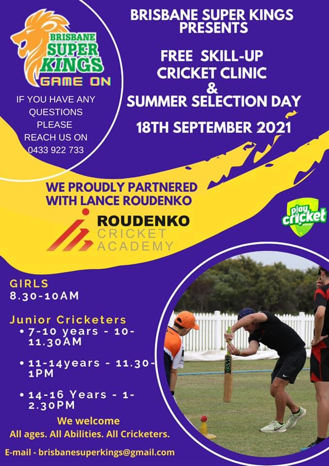 Brisbane Super Kings Presents Free Skill-up Cricket Clinic